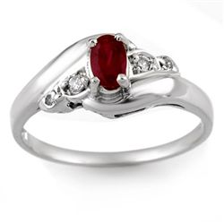Genuine 0.49 ctw Ruby & Diamond Ring 10K White Gold