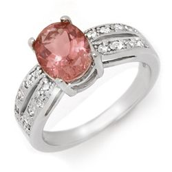 Genuine 2.33ctw Pink Tourmaline & Diamond Ring Gold