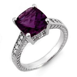 Genuine 3.75 ctw Amethyst & Diamond Ring 14K White Gold