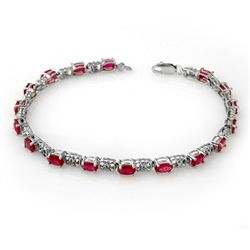 Genuine 7.12 ctw Ruby & Diamond Bracelet 14K White Gold