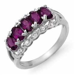 Genuine 1.65 ctw Amethyst & Diamond Ring 10K White Gold