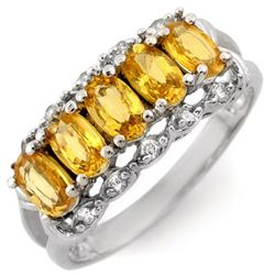 Genuine 1.80 ctw Yellow Sapphire & Diamond Ring Gold