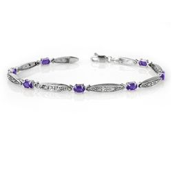 Genuine 1.82ctw Tanzanite & Diamond Bracelet White Gold
