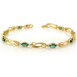 Genuine 2.02 ctw Emerald & Diamond Bracelet Yellow Gold