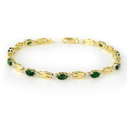 Genuine 2.70 ctw Emerald Bracelet 10K Yellow Gold