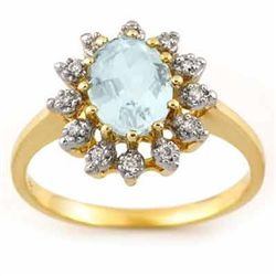 Genuine 1.62 ctw Aquamarine & Diamond Ring 10K Gold