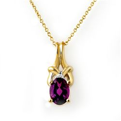 Genuine 0.77 ctw Amethyst & Diamond Pendant 10K Gold