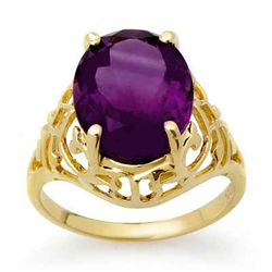 Genuine 4.5 ctw Amethyst Ring 10K Yellow Gold