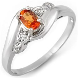 Genuine 0.42ctw Orange Sapphire & Diamond Ring 10K Gold