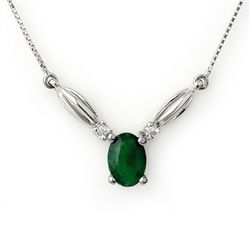 Genuine 1.30 ctw Emerald & Diamond Necklace 10K Gold