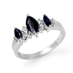 Genuine 1.0 ctw Sapphire & Diamond Ring 10K White Gold