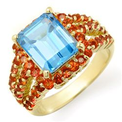 Genuine 7.25 ctw Red Sapphire &amp; Blue Topaz Ring 10K Yellow Gold