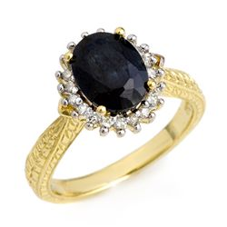 Genuine 3.15ctw Sapphire & Diamond Ring 10K Yellow Gold