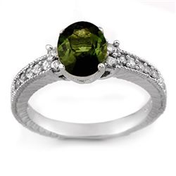 Genuine 2.17 ctw Green Tourmaline & Diamond Ring Gold