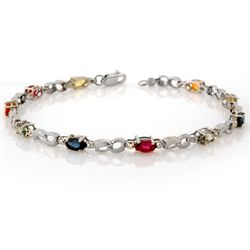 Genuine 3.51 ctw Multi-Sapphire & Diamond Bracelet Gold