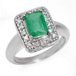 Genuine 2.03 ctw Emerald & Diamond Ring 10K White Gold