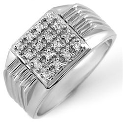 Natural 0.25 ctw Diamond Men's Ring 10K White Gold