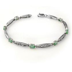 Genuine 2.07 ctw Emerald & Diamond Bracelet White Gold