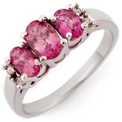 Genuine 1.16 ctw Pink Sapphire & Diamond Ring 14k Gold