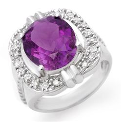Genuine 4.78 ctw Amethyst & Diamond Ring 10K White Gold
