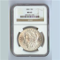 1883 Morgan Silver Dollar MS63 NGC Certified - N1883