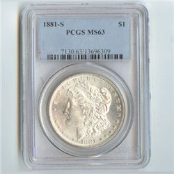 1881 Morgan Silver Dollar MS63 PCGS Certified - P1881