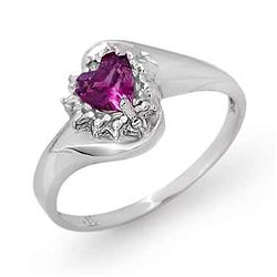 Genuine 0.52 ctw Amethyst & Diamond Ring 10K White Gold