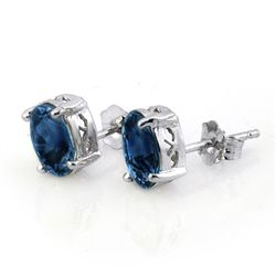 Genuine 3.0 ctw Blue Sapphire Stud Earrings 14K Gold