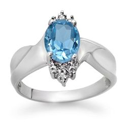 Genuine 1.54 ctw Blue Topaz & Diamond Ring White Gold