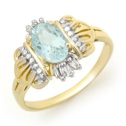 Genuine 1.05 ctw Aquamarine & Diamond Ring 10K Gold
