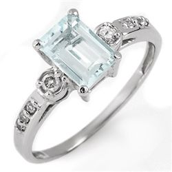 Genuine 1.20 ctw Aquamarine & Diamond Ring 10K Gold