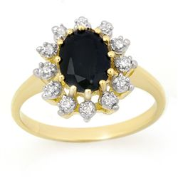 Genuine 2.04 ctw Sapphire &amp; Diamond Ring 10K Yellow Gold