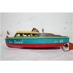 "11"" TIN SPEED BOAT - WIND UP WORKS - JAPAN"