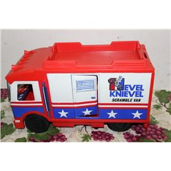 EVEL KNIEVEL - 2 PIECES 1 MONEY - STUNT VAN IN ORIG BOX W/ STUNT CYCLE - SOME DAMAGE