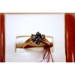#22 - Fancy Ladys 14K Yellow Gold Diamond and Emerald Ring
