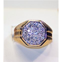 Mans 14K Yellow Gold Diamond Ring