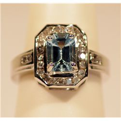 UNISEX AQUAMARINE & DIAMOND RING HEAVY MOUNT
