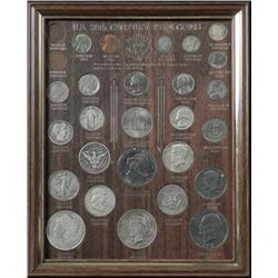 20th Century Coin Type Set 14 Silver Coins in Frame