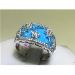 Turquoise and .50 Carat Diamonds 14K White Gold Ring