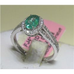 .63 CT Emerald and .40 CT Diamonds 14K White Gold Ring