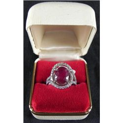 4.93 CT Ruby and .815 CT Diamonds 18K White Gold Ring
