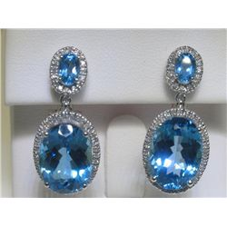 16.12 CT Blue Topaz and .44 CT Diamonds 14K WG Earrings
