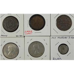 6 Different Older Canada Coins, Some Silver