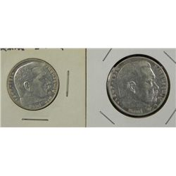 2 UNC Silver German Nazi Coins 1939 2 Mark, 1935 5 Mark