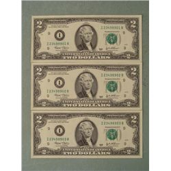 3 Consec # 2003 $2 Notes I Mint Minneapolis Bills CU