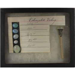 6 Gemstones Lapidary Set w/ Wand in Riker Mount