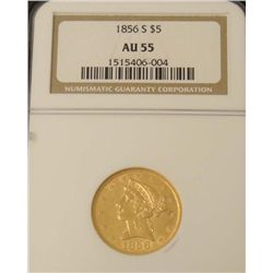 1856-S Gold $5 Coin NGC AU 55