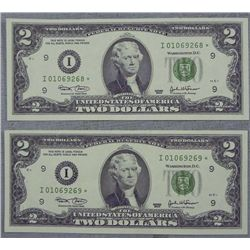 Rare 2 Star Notes CU Consec Number $2 Bills I Mint 2003