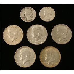 7 Silver Coins: 2 Washington Quarters, 5 Kennedy Halves