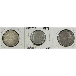 3 Different German Nazi Silver Coins 2, 5 Mark 1935-39